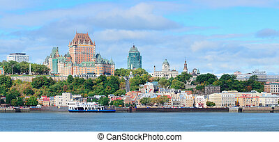 Quebec City skyline panorama over river with blue sky and...