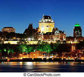 Quebec City at night - Quebec City skyline at dusk over...