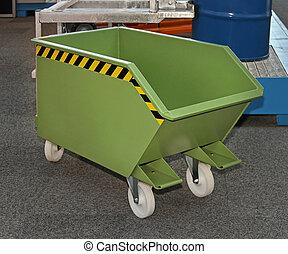Industrial dumpster - Industrial green steel dumpster bin...