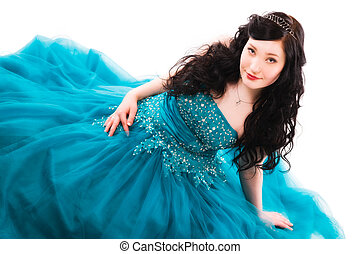 Prom dress - Beautiful girl wearing a prom dress, she is...