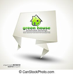 Green Real Estate abstract origami paper stand ofr...