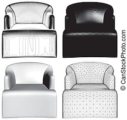 Modern Black And White Armchairs