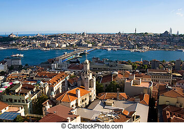 Golden Horn in Istanbul - View from Galata tower to Golden...