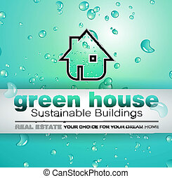 Green Real Estate water drops background for advertising of...