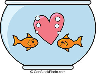 Goldfish In Love - Two cute goldfish staring at each other...