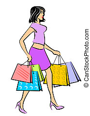 Shopping woman - Brunette girl holding a lot of shopping...
