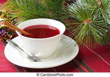 Cranberry Tea - Cup of hot cranberry tea especially brewed...