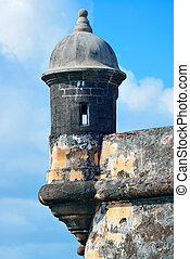 El Morro castle at old San Juan - Watch tower in El Morro...
