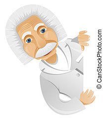 Einstein - Cartoon Character Einstein Isolated on Grey...