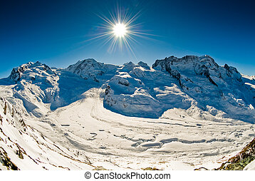 Panorama from Gornergrat - Panoramic view of Monte Rosa,...