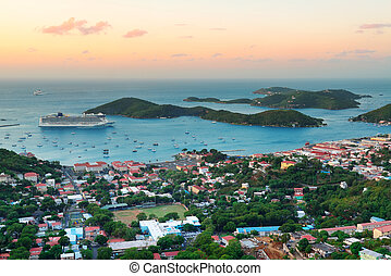 St Thomas sunrise - Virgin Islands St Thomas sunrise with...