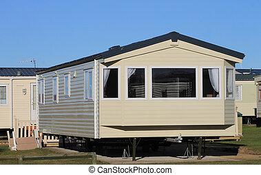 Mobile home on caravan park - Exterior of modern mobile home...