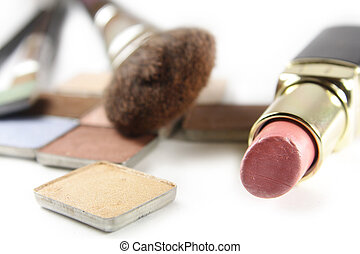 Make-up cosmetics on white background (still-life)