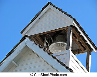 bell tower - historical schoolhouse with bell in rooftop...