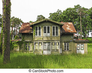 traditional wooden house in jurmala latvia - traditional old...