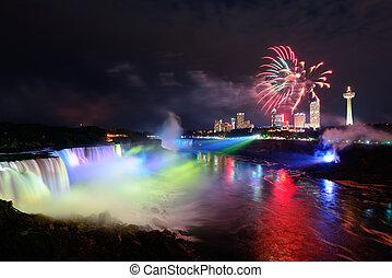 Niagara Falls and fireworks