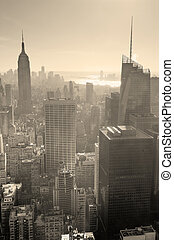 New York City skyline black and white