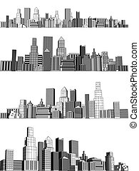 City blocks - Set of generic city skylines