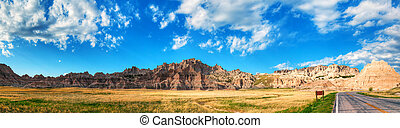 Scenic view at Badlands National Park, South Dakota, USA in...