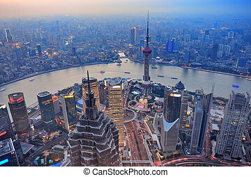 Shanghai sunset - Shanghai aerial view at sunset with urban...