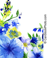 watercolor dark blue and yellow flo