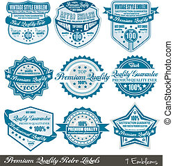 Premium Quality and Satisfaction Guarantee labels with retro...