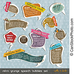 Retro grunge speech bubbles collection with shadows and 3...