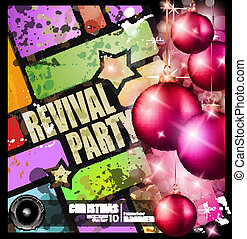 revival party flyer for Christmas event