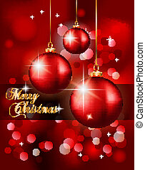 Elegant Classic Christmas Background with new red baubles...