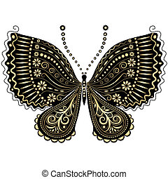 Fantasy vintage black-gold butterfly - Decorative fantasy...