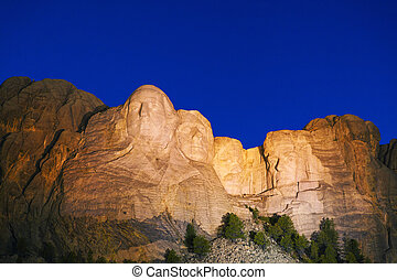Mount Rushmore monument in South Dakota in the night time