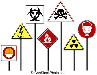 Warning / Danger Signs with Clipping Path