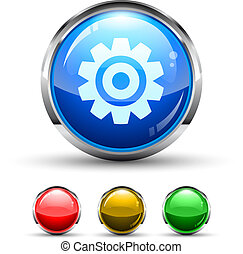 Settings Cristal Glossy Button