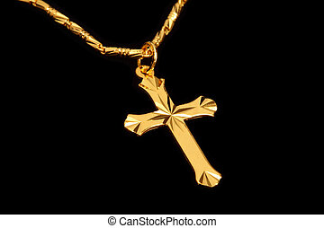 golden christian crosses with chain isolated on black...