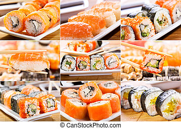 collage of  sushi and sashimi