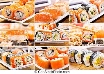 collage of  sushi and sashimi