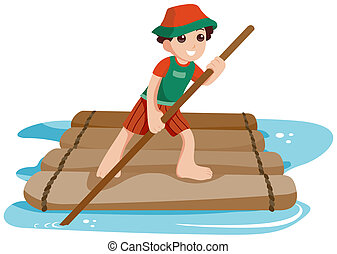 Boy On Raft - Boy on Raft with Clipping Path