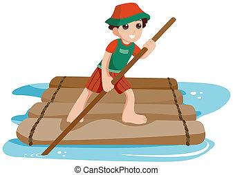 Boy On Raft - Boy on Raft with Clipping Path