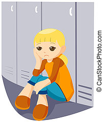 Sad Girl at the Lockers with Clipping Path