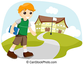 Going to School - Boy Going to School with Clipping Path