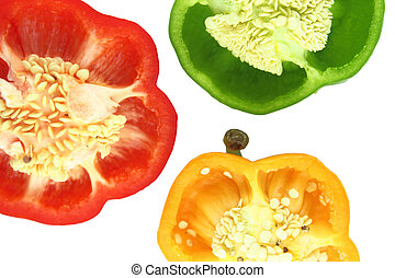 Parts of colorful sweet bell pepper with a clipping path