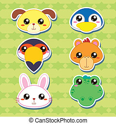 Six Cute Cartoon Animal Head Stickers - six cute cartoon...