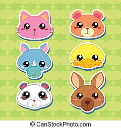 Six Cute Cartoon Animal Head Stickers