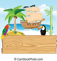 Tropical paradise - Illustration of the ocean and tropical...