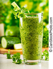 green vegetable juice with fresh celery