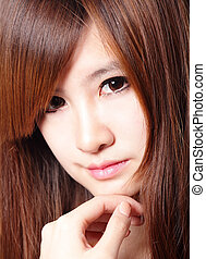 Brown Hair and Woman charming smile - Brown Hair and...