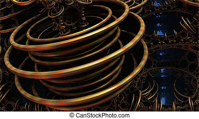 bronze rings n1049 - 3D particle motion background