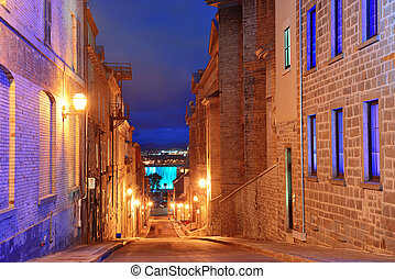 Quebec City old street at dusk