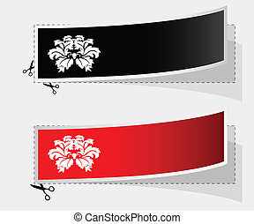 Vector label with ribbons and vintage flower design
