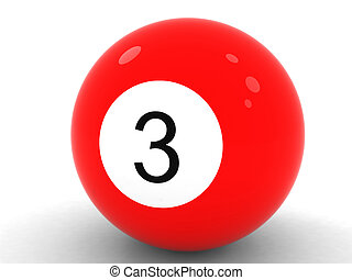 red billiard ball number three on a white background